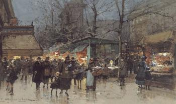 Eugene Galien-Laloue : On a Grand Boulevard at Dusk