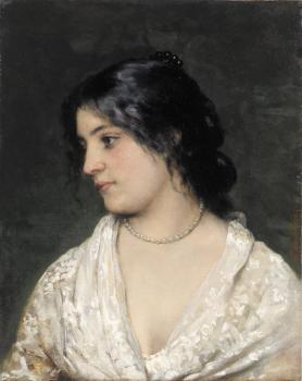 Eugene De Blaas : The Pearl Necklace