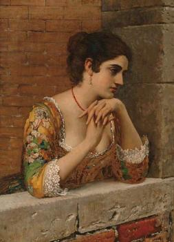 Eugene De Blaas : venetian beauty on balcony
