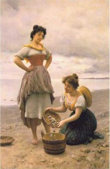 Eugene De Blaas : Gathering Shells