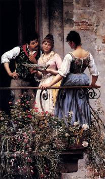 Eugene De Blaas : On The Balcony