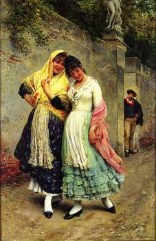 Eugene De Blaas : The Flirtation