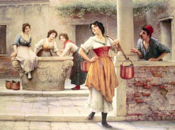 Eugene De Blaas : Flirtation at the Well