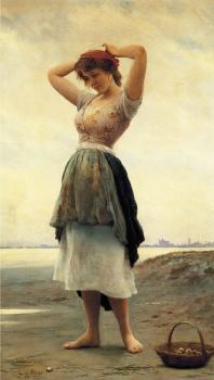Eugene De Blaas : On the Beach