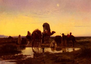 Eugene-Alexis Girardet : Camel Train By An Oasis At Dawn