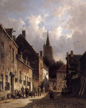 Adrianus Eversen : A Dutch Street Scene