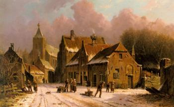 Adrianus Eversen : A Village In Winter