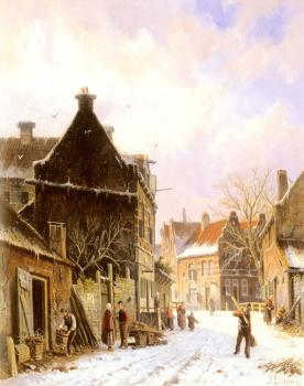 A Village Street Scene in Winter