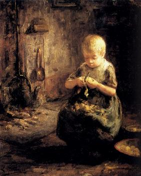 Evert Pieters : A Child Peeling Potatoes