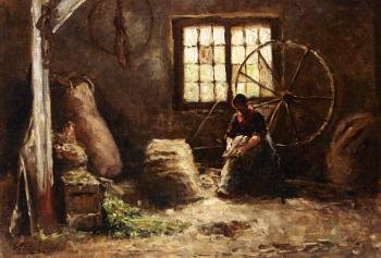 Evert Pieters : A Peasant Woman Combing Wool