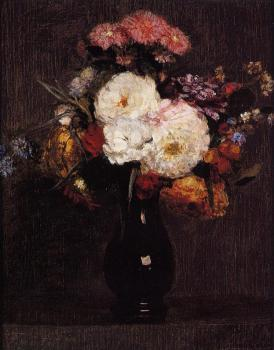 Henri Fantin-Latour : Dahlias, Queens Daisies, Roses and Corn Flowers