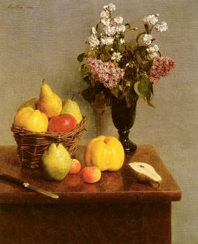 Henri Fantin-Latour : Still Life With Flowers And Fruit