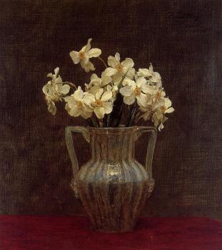 Henri Fantin-Latour : Narcisses in an Opaline Glass Vase