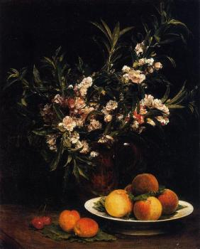 Still Life Balsimines, Peaches and Apricots