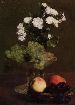 Still Life Chrysanthemums and Grapes