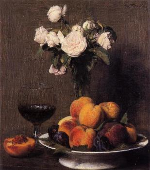 Still Life with Roses, Fruit and a Glass of Wine