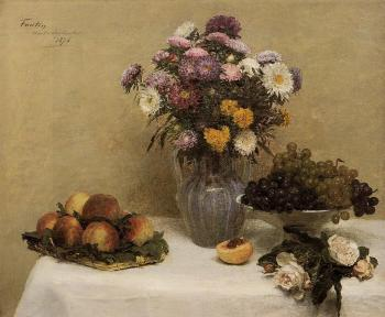 White Roses, Chrysanthemums, Peaches and Grapes on a Table