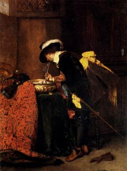 A Cavalier Lighting A Pipe