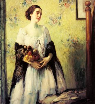 A Young Woman Holding A Bouquet
