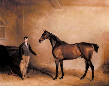 John Ferneley : Mr Hogg's Claxton and a Groom in a Stable