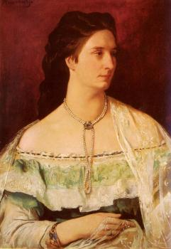 Portrait Of A Lady Wearing A Pearl Necklace