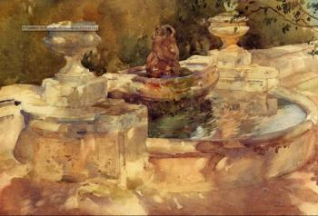 Sir William Russell Flint : A Fountain At Frascati