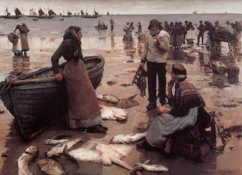 Stanhope Alexander Forbes : A Fish Sale on a Cornish Beach