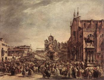 Francesco Guardi : Pope Pius VI Blessing the People on Campo Santi Giovanni e Paolo