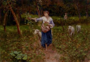 Francesco Paolo Michetti : A Shepherdess In A Pastoral Landscape