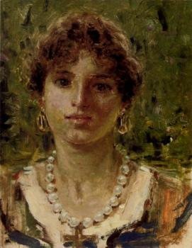 Francesco Paolo Michetti : Portrait Of A Girl Waering A Pearl Necklace