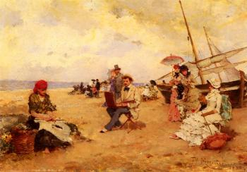 Francisco Miralles Galup : The Artist Sketching On A Beach