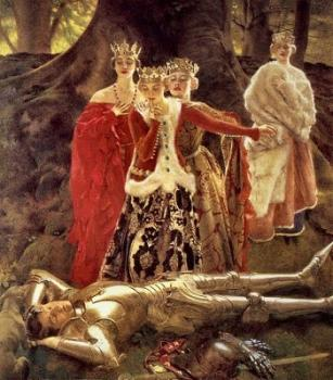 Frank Cadogan Cowper : Four Queens Find Lancelot Sleeping