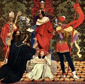 Frank Cadogan Cowper : John Cabot and his sons receive the charter from Henry VII to sail in search of new lands