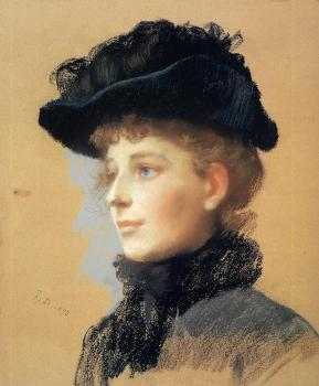 Portrait of a Woman with Black Hat