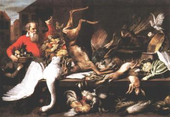 Frans Snyders : Still Life With Dead Game Fruits And Vegetables In A market