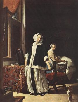 Frans Van Mieris The Elder : Young Woman in the Morning