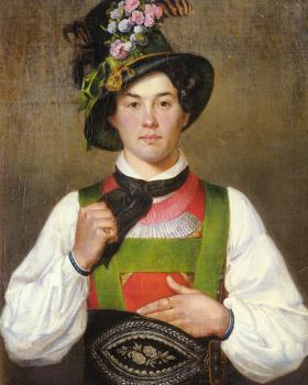 Franz Von Defregger : A YOUNG MAN IN TYROLEAN COSTUME