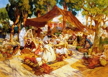 Frederick Arthur Bridgman : An evening gathering at a North-African encampment