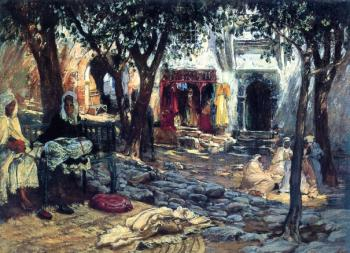 Frederick Arthur Bridgman : Idle Moments An Arab Courtyard