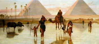 Frederick Goodall : Arabs Crossing A Flooded Field By The Pyramids