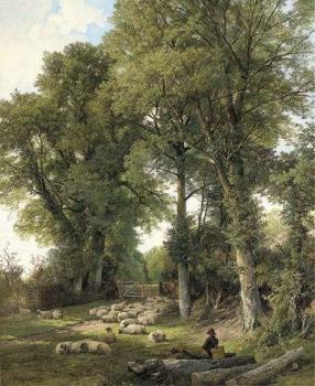 Frederick William Hulme : Sheep resting in a woodland glade, a traveller looking on
