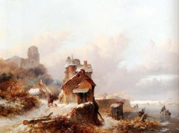 Frederik Marianus Kruseman : A Winterlandscape With A Horserider On A Track Passing A Farmhouse