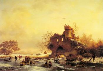 Frederik Marianus Kruseman : Winter Landscape With Skaters On A Frozen River Beside Castle Ruins