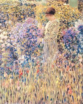 Frederick Carl Frieseke : Lady in a Garden