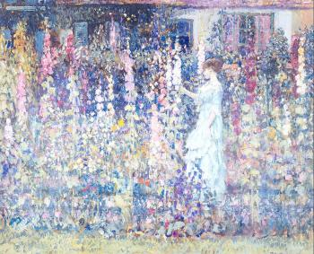 Frederick Carl Frieseke : Hollyhocks By