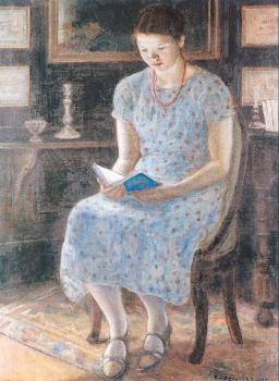 Frederick Carl Frieseke : Blue Girl Reading