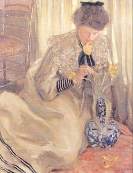 Frederick Carl Frieseke : The Yellow Tulip