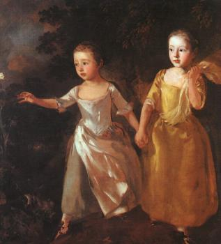 Thomas Gainsborough : The Painter's Daughters Chasing a Butterfly