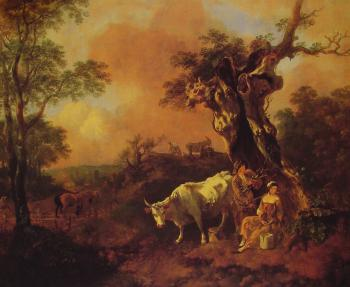 Thomas Gainsborough : Landscape with a Woodcutter and Milkmaid