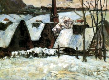 Paul Gauguin : Breton village under snow